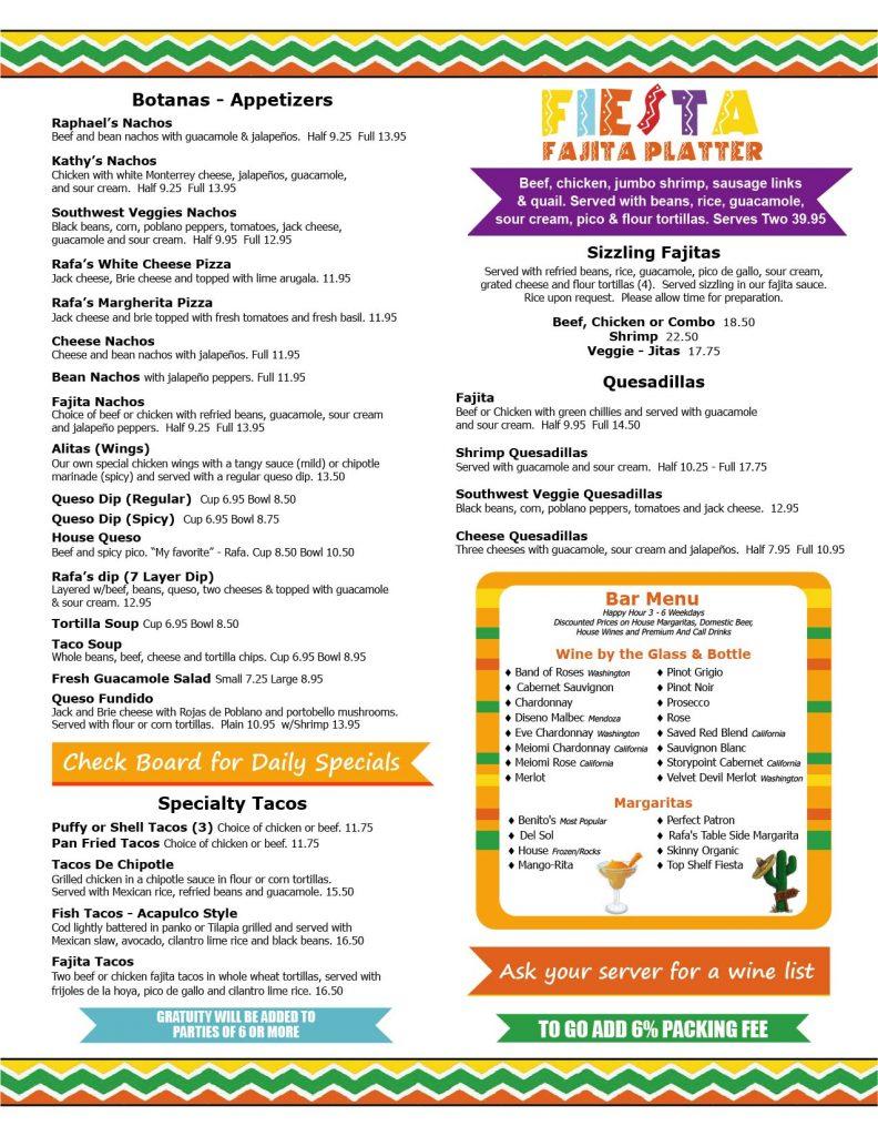 Rafa's Cafe Menu Page 1 - Best Tex-Mex in Dallas