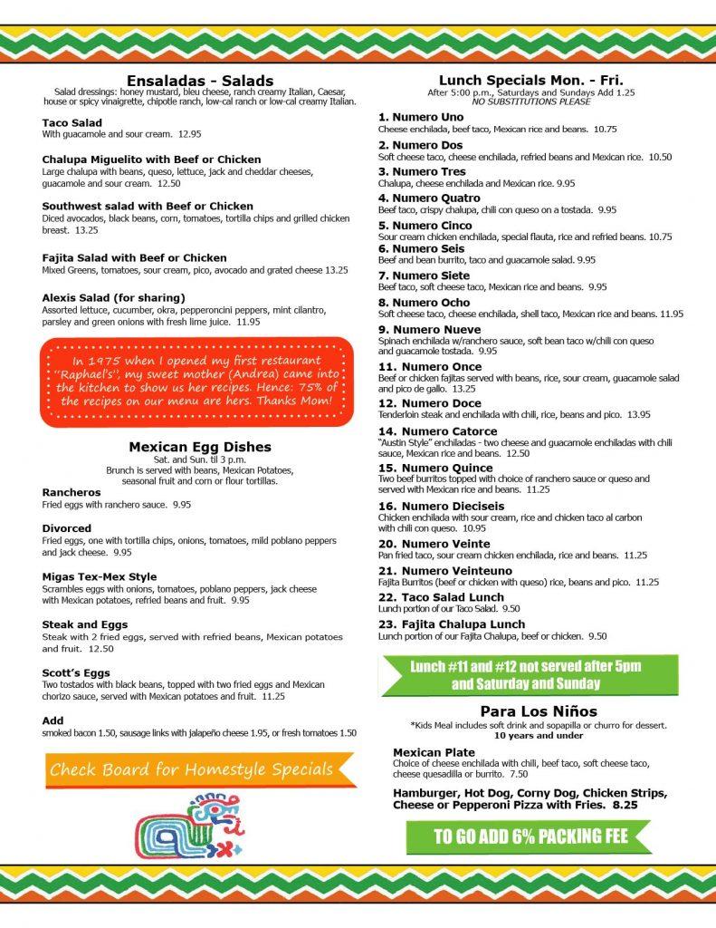 Rafa's Cafe Menu Page 3 - Best Tex-Mex in Dallas